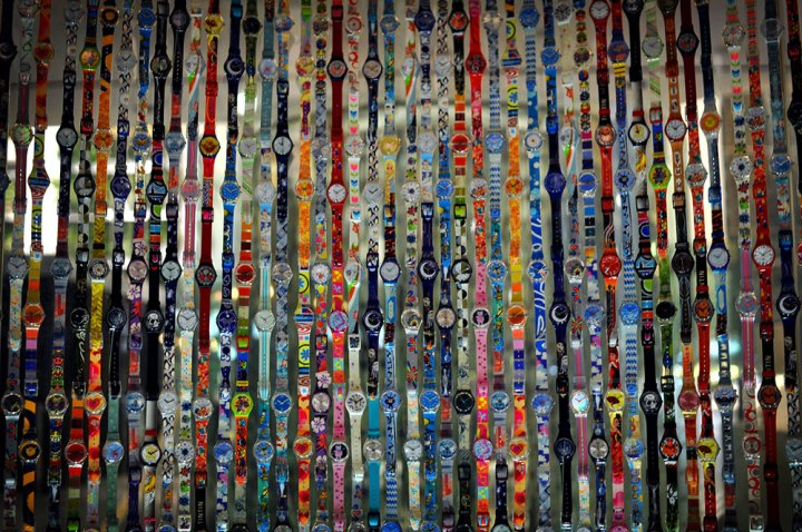 A wall of Swatch watches in Ginza