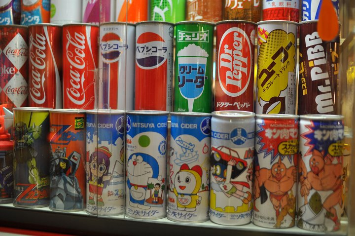 Seventies soda cans from Japan