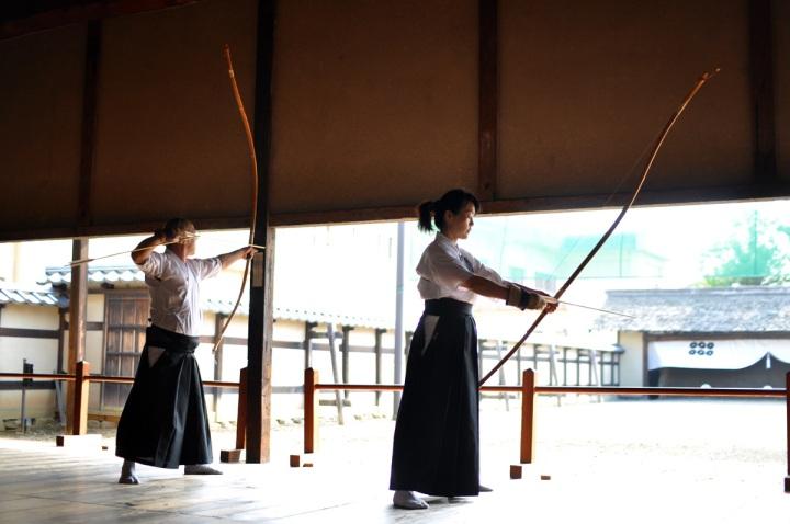 Two very experience Kyudoka in a Nagano dojo